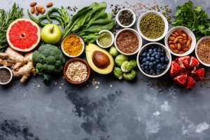 A Spread Of Healthy Foods On A Table